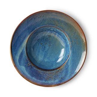 Hkliving assiette ceramique bleu