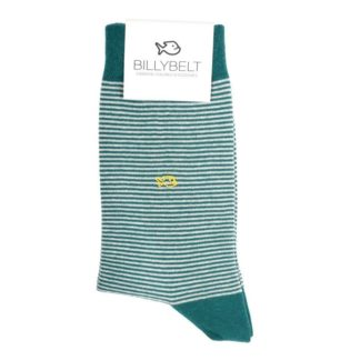 chaussettes-coton-rayee-vert-petrole